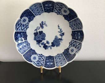 Vintage, Blue Imari Plate, Imari Bowl, Porcelain Bowl,Japanese Bowl, Blue And White Plate, Oriental Decor, Ceramic Plate, Asian plate. Plate