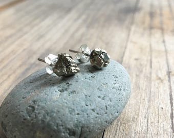 Raw Stone Earrings // Pyrite Stud Earrings // Fools Gold