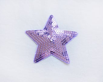 1x sequins purple glitter shiny STAR patch vibrant color love burlesque Iron On Embroidered Applique
