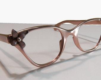 Vintage 1950s Tura Embellished Eyeglasses' Frames Cat's Eye Style