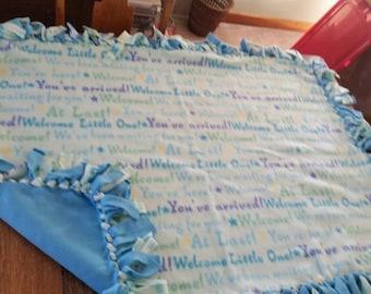 Welcome Baby boy fleece blanket