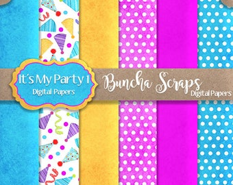 Digital Papers Background Papers It's My Party Part1 6x6 For Card Making