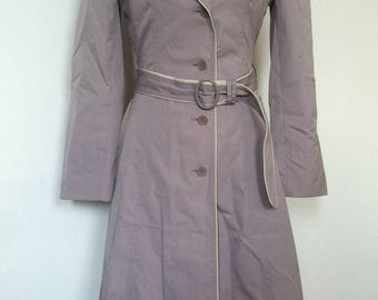 Retro Vintage Womens J Gallery Trench Coat Long Lilac Rain Jacket / Tag Size 5 (UK 8)