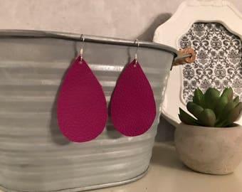 Dark magenta leather teardrop earrings