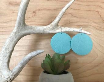 Aqua leather circle earrings
