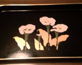 Vintage Plastic Lacquer Serving Tray Black Calla Lilly With Handles- Made in Japan