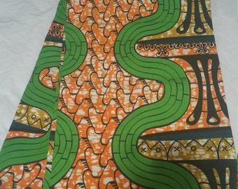 Orange & Green Wax Print/African Print/Ankara (6yards)