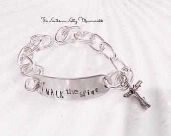 Walk the Line Johnny Cash Lyrics Inspired Bracelet