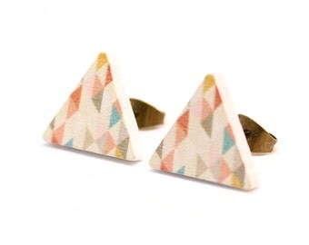 Wooden Ear Plug - Geometric Triangle Pastel