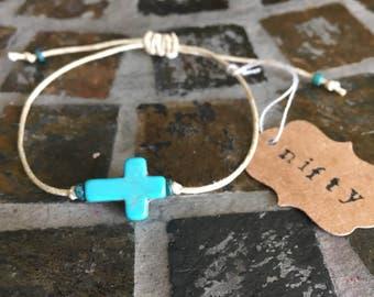 Womens Turquoise Cross Hemp Bracelet - Cross My Heart & Hope to Die -