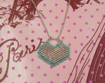 Miyuki beads necklace heart shape with 42cm silver chain.