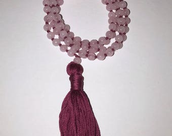 Pink, Pale Rose Quartz Mala Beads Necklace with Maroon Tassel, 108 + 1 Prayer Beads
