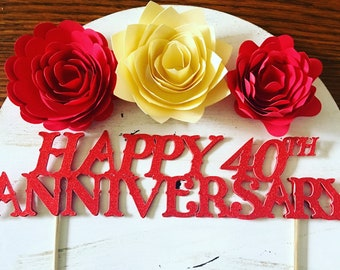Ruby red Happy 40th anniversary cake topper