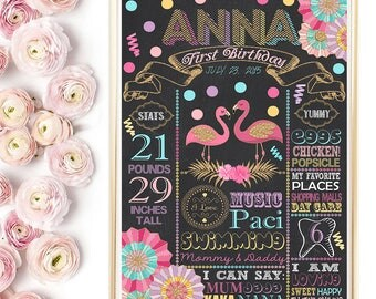 SALE Flamingo Chalkboard Poster, Flamingo Birthday Chalkboard, Flamingo Party Sign,  Tropical Birthday Gold, Pool Party Poster, Any Age