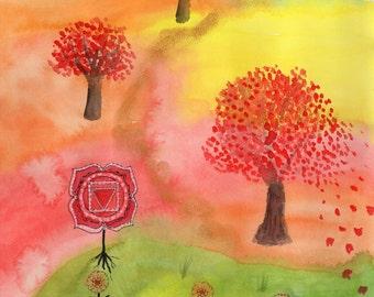 Art Print Chakra Muladhara Tree Affirmation Maple Watercolour