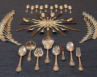 Lunt Eloquence 62 Piece Sterling Silver Flatware Set Antique Vintage Silverware