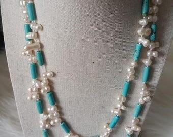 Turquoise beads long Katte