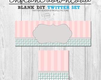 blank diy instant download twitter branding package, blank social media twitter design set, premade twitter header cover image, diy twitter