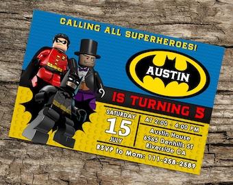 Batman Lego Invitation,Batman Lego Party,Batman lego Birthday,Batman Lego Birthday Party Invitation,Lego Batman Movie Invite