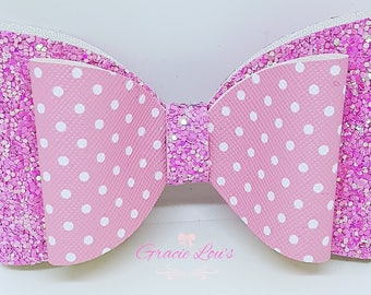 Chunky pink glitter and polka dot hair bow clip