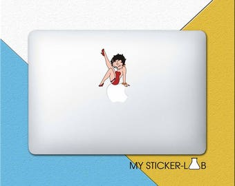 Betty Boop MacBook Decal Betty Boop MacBook Sticker Betty Boop Sticker Betty Boop Decal Cartoon Girl In Red Dress Apple Logo Decal cmac281