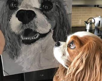 Custom Dog portrait on canvas