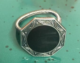 Black and Silver button ring