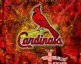 St. Louis Cardinals Poster, Saint Louis Cardinals Artwork Gift, Cardinals Layered Man Cave Art