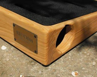 "Riddim Custom Cherry Wood Guitar pedalboard 17""x15.5"". Guitar Pedal board. Custom Pedal Board"