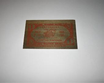 1953 Edgerton WI Wisconsin 100 Year Centennial One Wooden Nickel