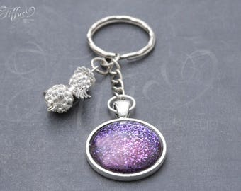 Key-ring cabochon with Guardian Angel * purple * keychains violet guardian angel