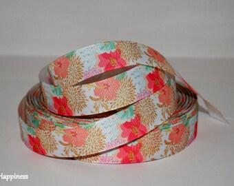 "Flowers 7/8"" Grosgrain Ribbon 750"