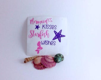 Beach Decal  Seaside Decal,  Vinyl Decal, Car Decal, Laptop Decal, Tablet Sticker,Mirror Sticker, Mermaid Kisses Starfish Wishes Decal