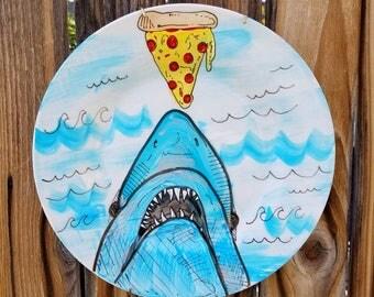 Shark Art/ Pizza Art/ Shark and Pizza Art/ Jaws/ Jaws Art/ Pizza Jaws/ Great White Shark Biting Pizza Plate/ Pizza and Shark Plate/ Sharks