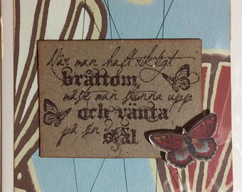 Handmade card with text