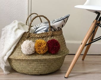 Big Thai basket with pompons in off-white, mustard and Red cotton