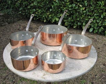 A Very Nice Five Piece French Hammered Copper Saucepan Set Great For A Country / Farmhouse Kitchen