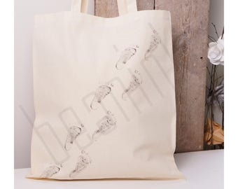 Baby steps - Walking feet tote bag - can be personalised - Use your baby's footprints