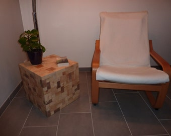 Cube mosaic wood side table