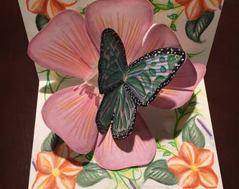 Pop-up Green Butterfly Pink Flower Greeting Card
