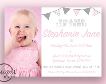 Pink Simple Christening/Baptism Invitation