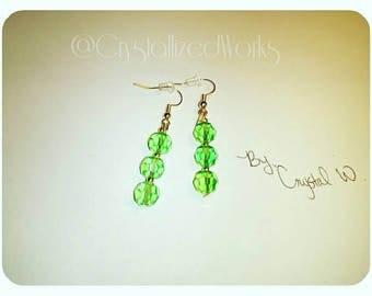 18k gold plated Lt. Green jeweled earrings
