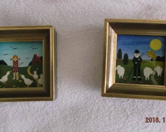 Miniature  picture , made in Austria, Shepard and goose girl, handpainted, 1970's