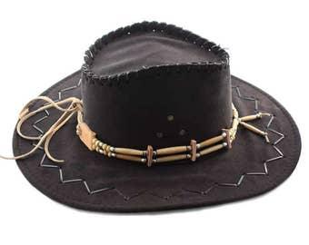 Vintage style hat band, Native American indian bone hair pipe hatband, festival hat band, tribal biker rocker western antique look hatband,