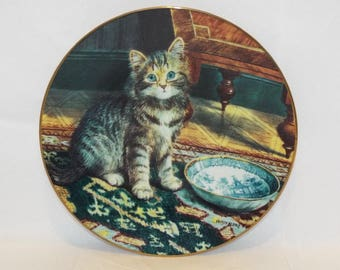 VINTAGE Collector Cat Plate by Wilson Hepple. Victorian plate with gold trimming.  Plate No. 5396A.