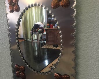 Hand Fordged Metal Mirror Copper Accents