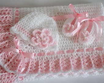Crochet Baby Blanket Hat and Booties Set Pink White Satin Ribbon Granny Square Shower Gift Baby Girl Boy Christening Baptism Pram Bed