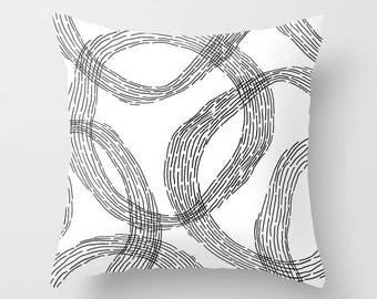 White Throw Pillow, Black and White Pillow, Decorative Pillow, Pillow Cover, Throw Pillows, Accent Pillow, Cushion Cover, Throw Pillow Cover