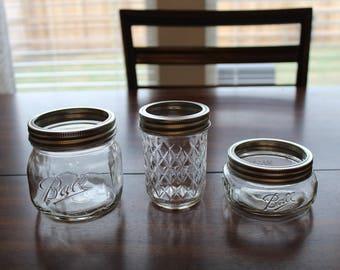 Hand-painted mason jars 3 piece bathroom set