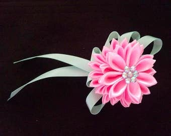 Three layer Kanzashi flower hair clip